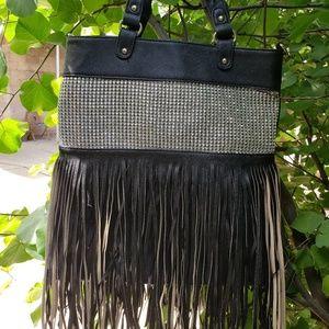 Handbags - New Blinged Crystal & Fringe Handbag Faux Leather